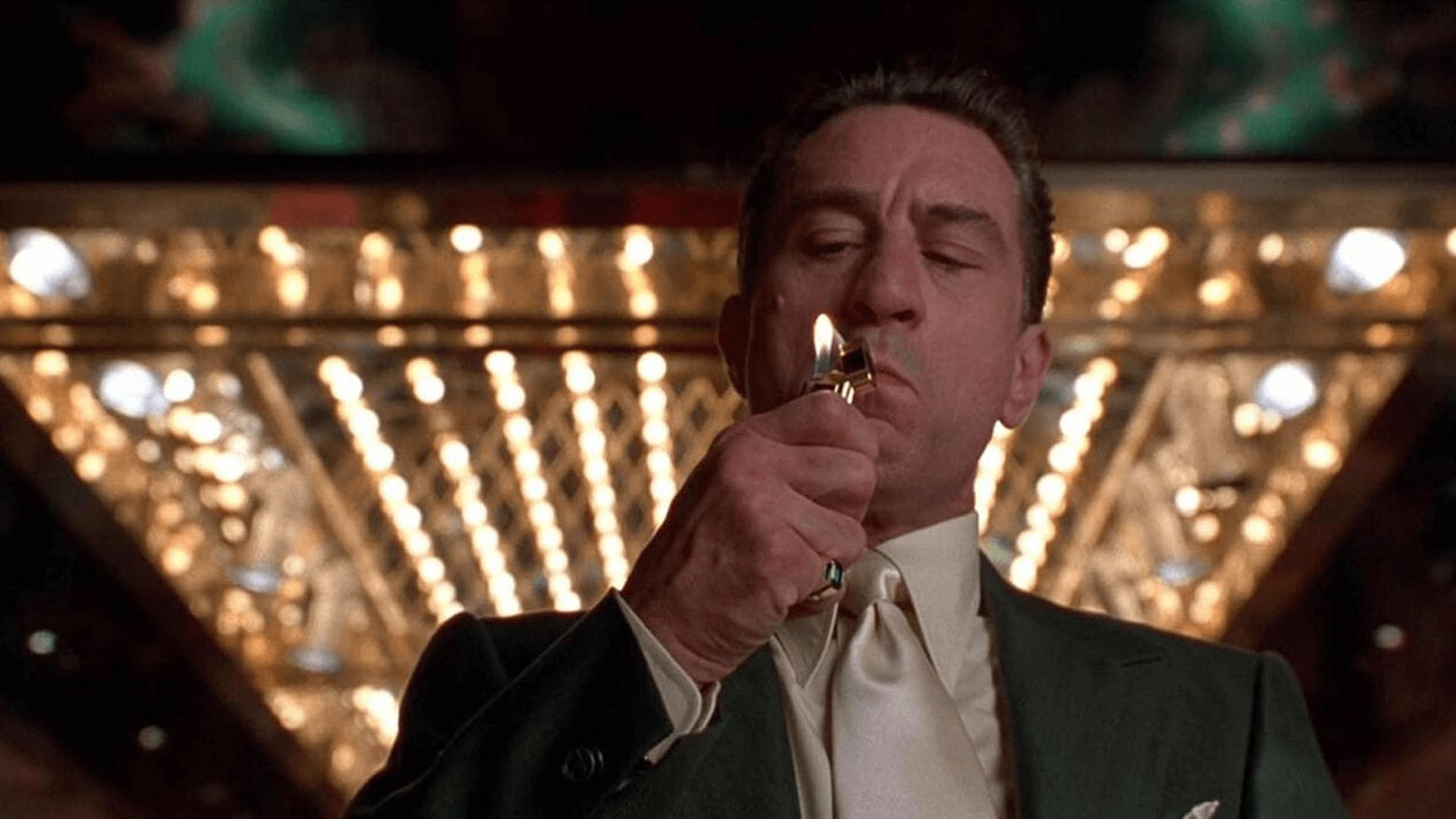 Robert Deniro (Ace) smoking cigaret in front of the Casino